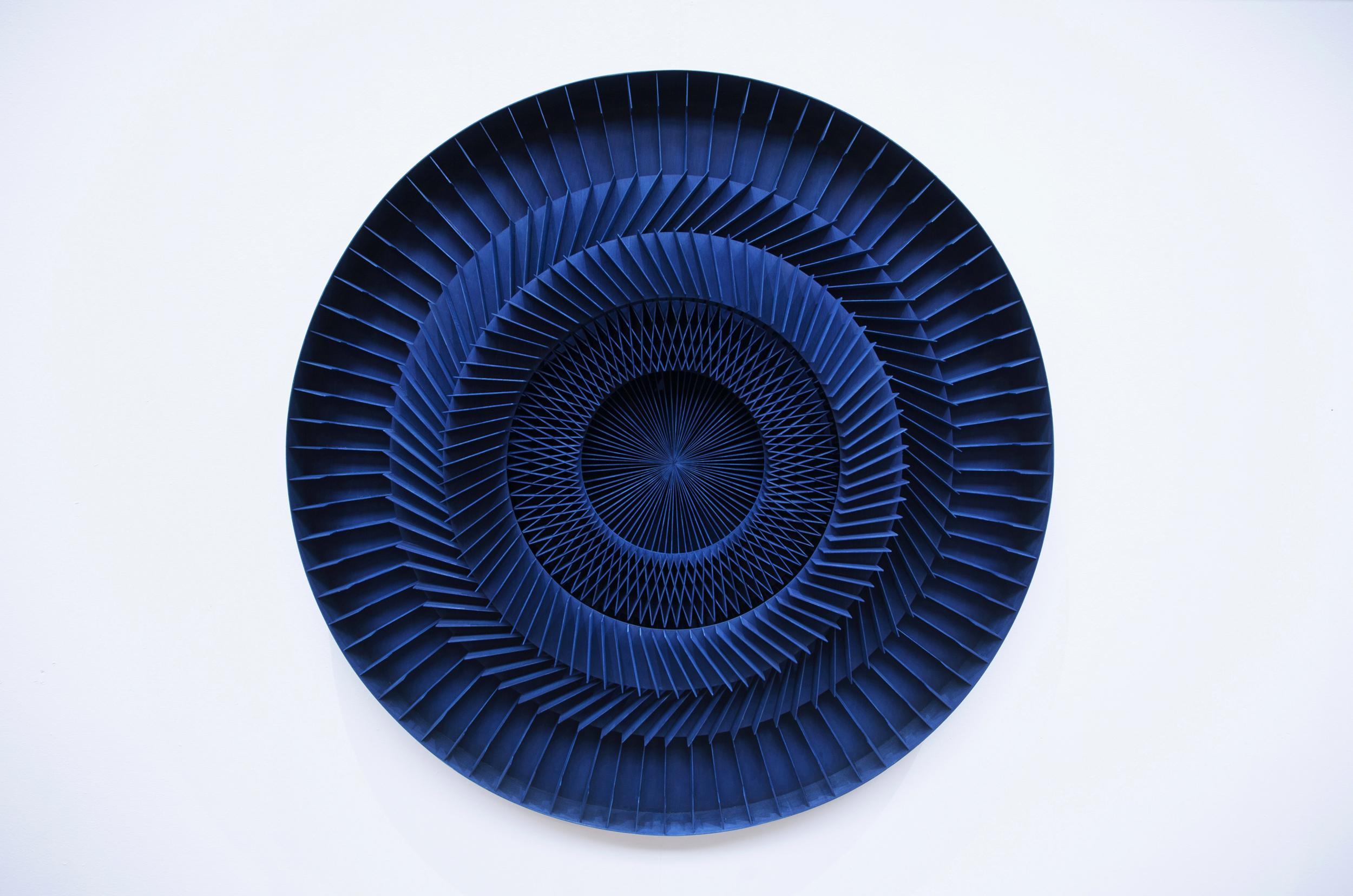 120 x 120cm, wood, cobalt ink, 2017