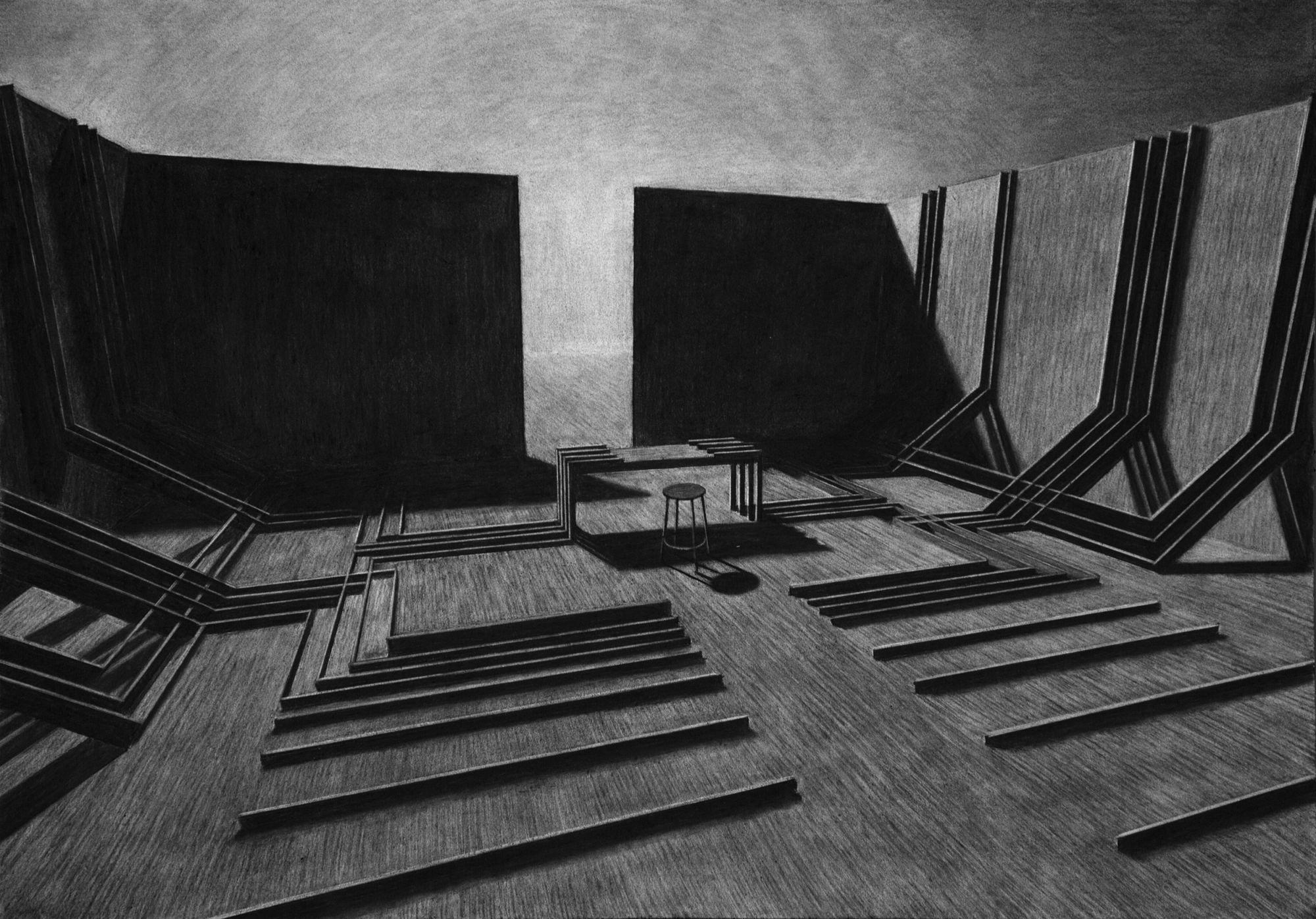 The monolith charcoal drawings levi van veluw